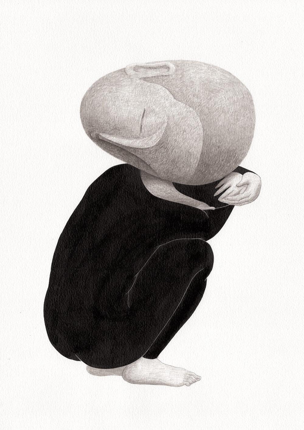 기억의 무게 / Weight of memories Op.0189P -29.7 x 42 cm,종이에 잉크 / Ink on paper, 2017 inspired by the sculpture, 'Femme accroupie' by Claudel Camille