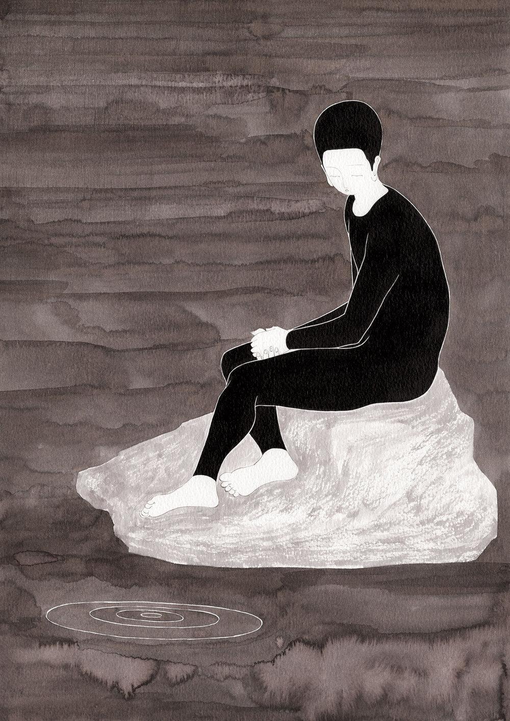 사라진 자리 / Was there Op.0190P -29.7 x 42 cm,종이에 잉크 / Ink on paper, 2017 inspired by the sculpture, 'Amour boudeur' by Alfred Boucher