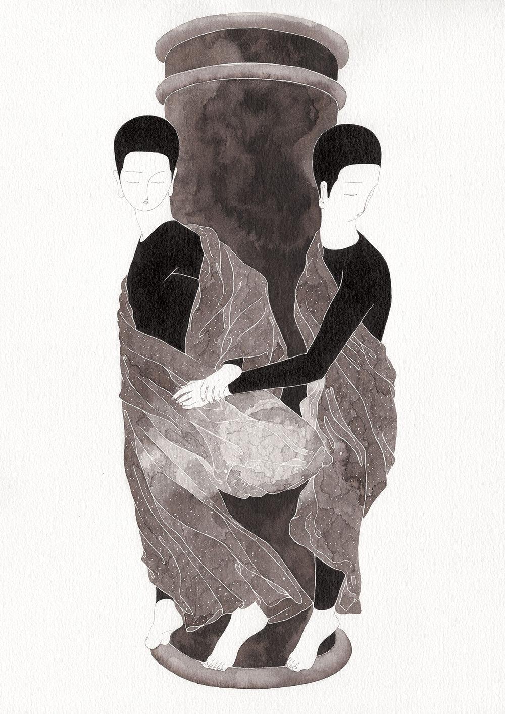 둘의 삶 / Wheel of two Op.0191P -29.7 x 42 cm,종이에 잉크 / Ink on paper, 2017 inspired by the sculpture, 'Les Ondines ou Les Nymphes de la Seine' by Alfred Boucher