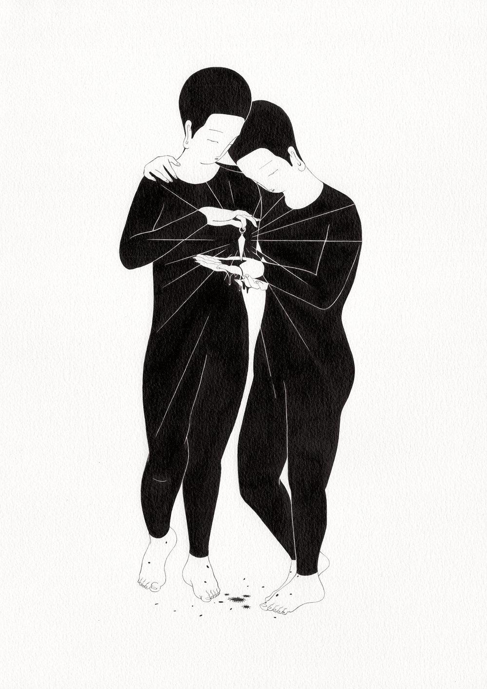 정중한 고통 / Gentle harm Op.0192P -29.7 x 42 cm,종이에 잉크 / Ink on paper, 2017 inspired by the sculpture, 'L'Amour et Psyché' by Antonio Canova
