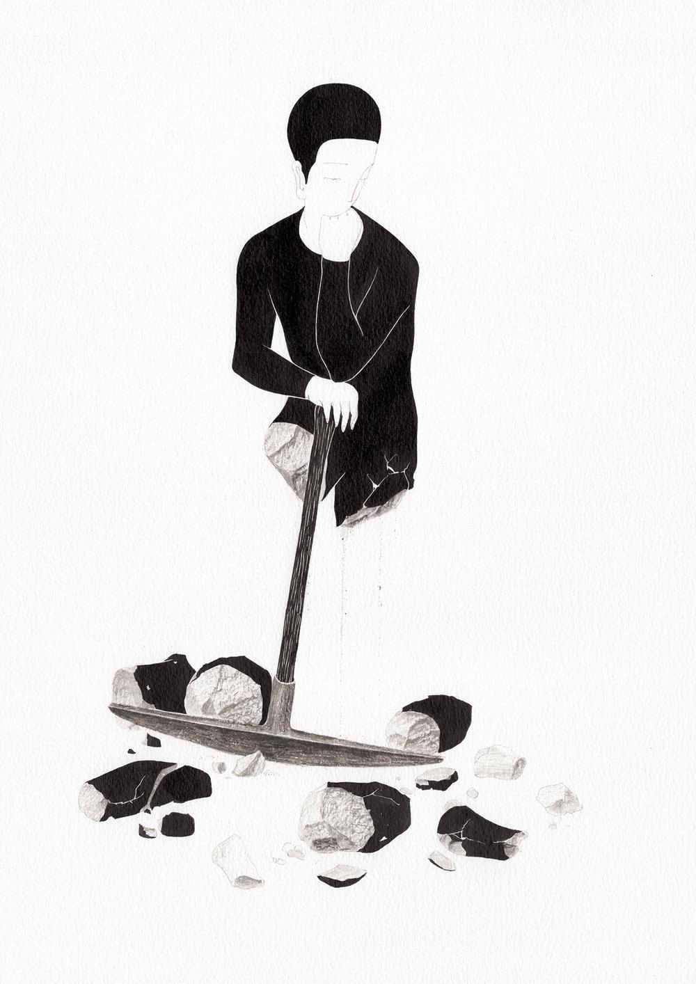 멈추기 위한 파괴 / Deconstruction for reconstruction Op.0193P -29.7 x 42 cm,종이에 잉크 / Ink on paper, 2017 inspired by the sculpture, 'Le Terrassier' by Alfred Boucher
