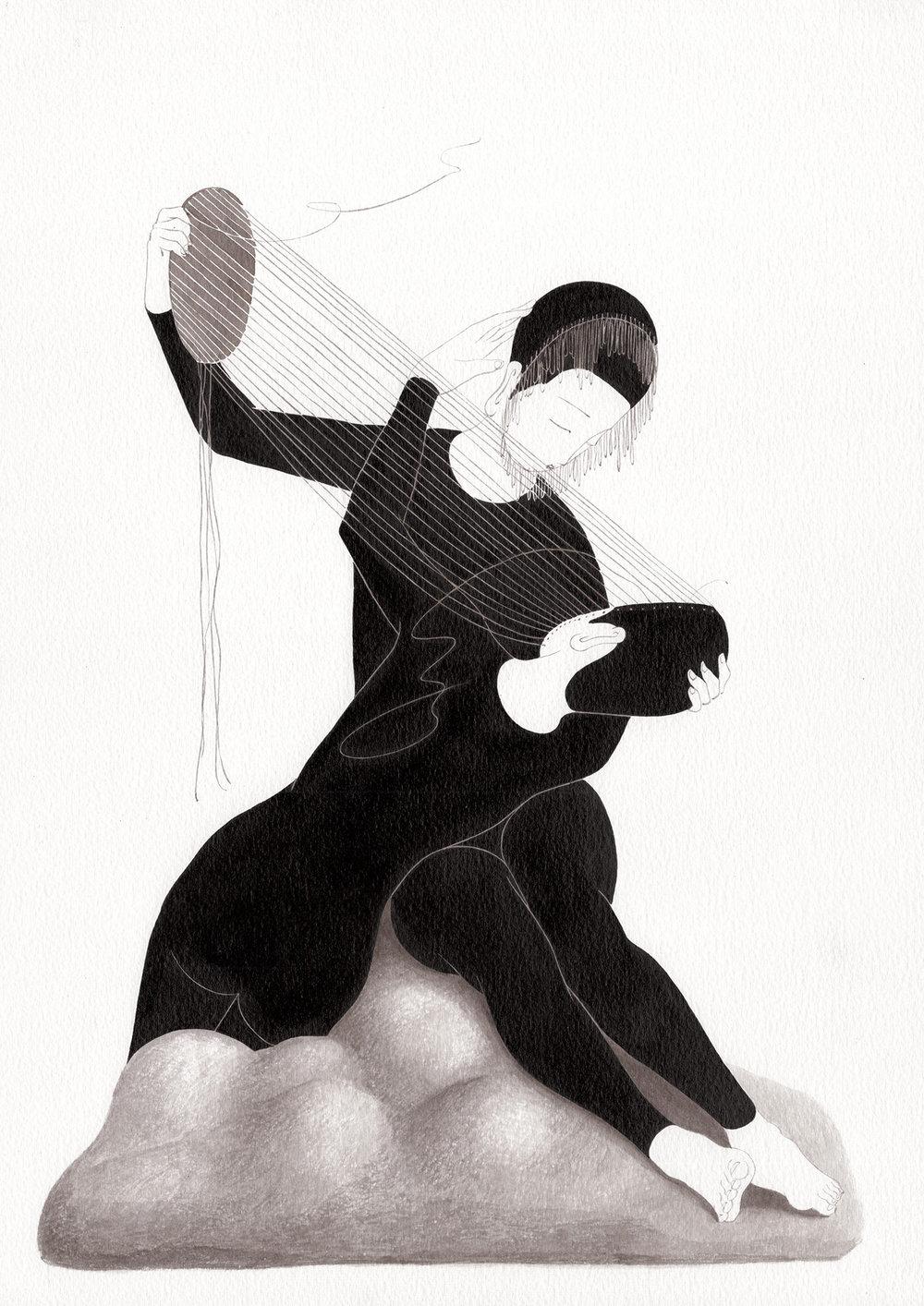 이해한다는 것은 / Look through you Op.0194P -29.7 x 42 cm,종이에 잉크 / Ink on paper, 2017 inspired by the sculpture, 'Le Poète la Siréne' by Emmanuel Hannaux