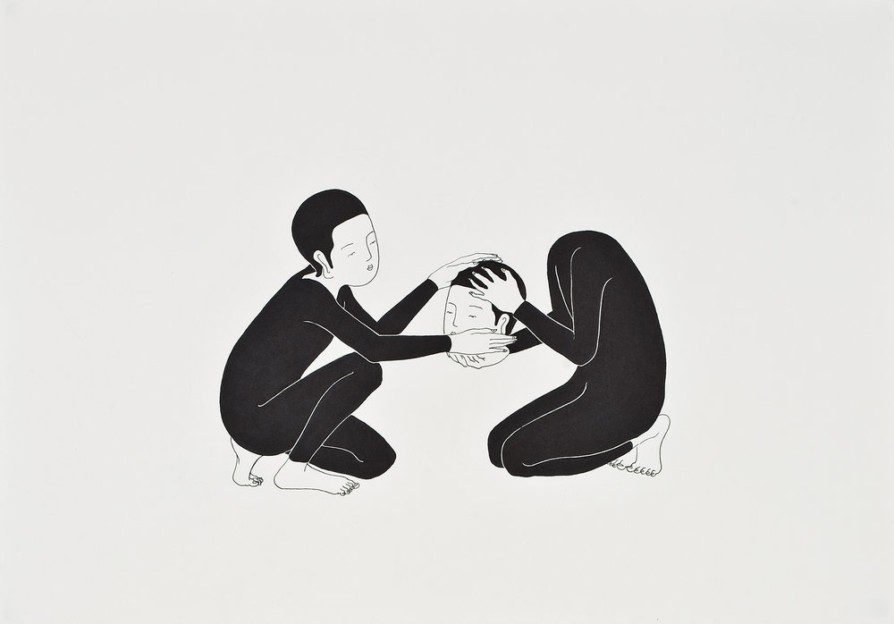 잘 부탁합니다   /   Please take care of this   Op. 0029P - 42 x 29.7 cm, 종이에 펜, 마커 / Pigment liner and marker on paper, 2009