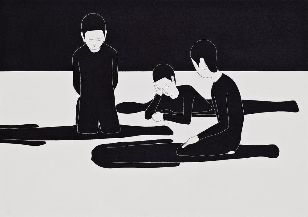 변명의 여지  / Room for doubt   Op.0040P -42 x 29.7 cm,종이에 펜, 마커 / Pigment liner and marker on paper, 2010