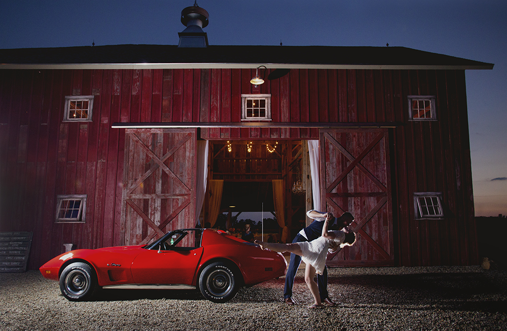 Wedding Reception Evening Country Barn Red Corvette Bride Groom Tattoo Kissing Amazing South Bend Indiana Michigan Chicago - joannaFOTOGRAF Joanna Reichert.jpg