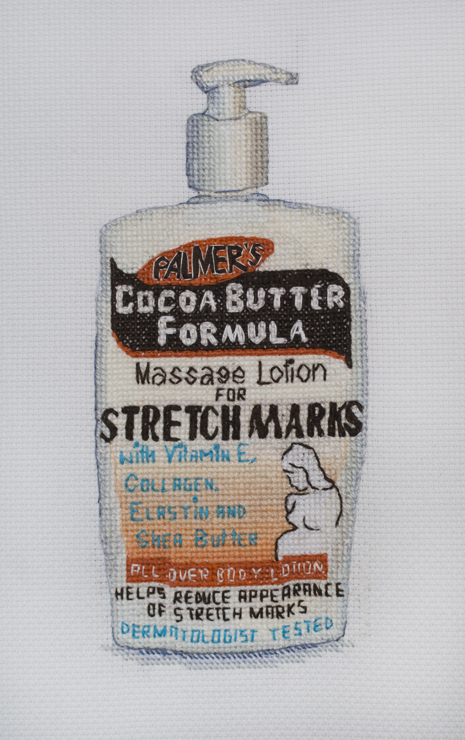 Stretch Marks Lotion, Thread on aida cloth, 14 x 11 inches, 2018, by Katrin Majkut