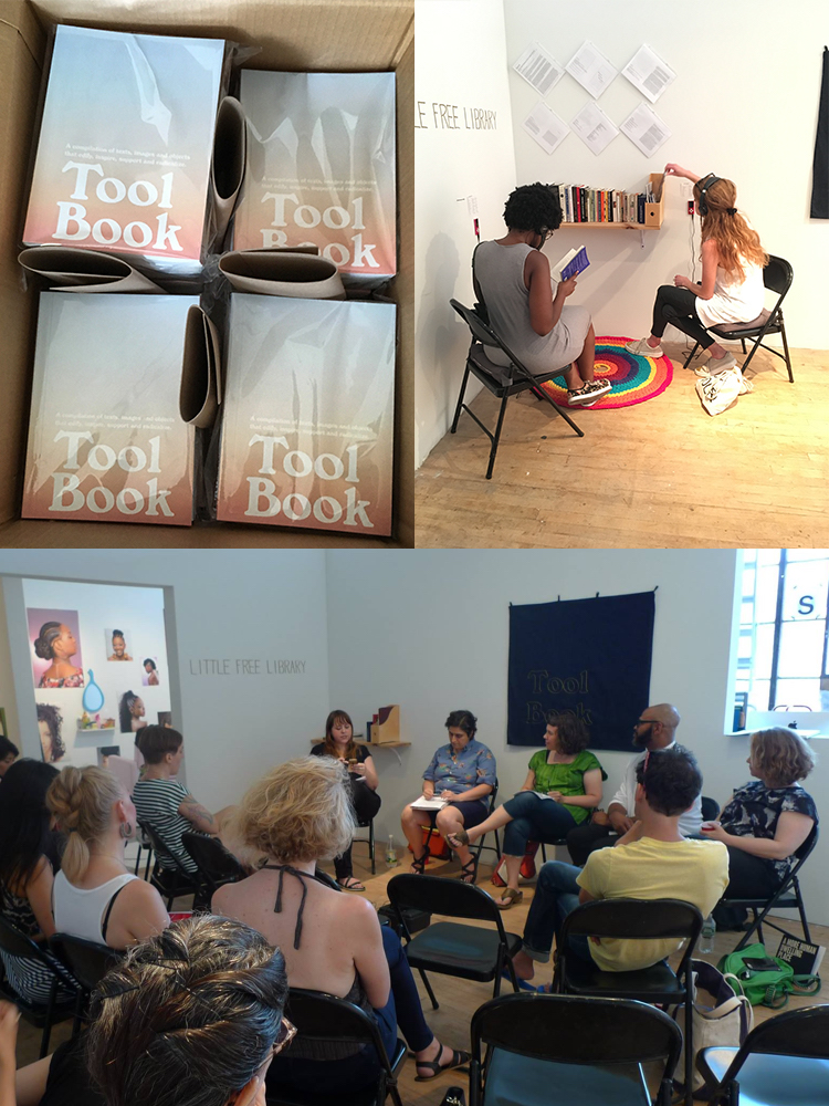 Tool Book, 2017  (upper left) Tool Books  (bottom) Tool Share Roundtable: Art and Activism, SoHo20 Gallery, July 16, 2017  (upper right) Tool Book Little Free Library and Listening Station, SoHo20 Gallery, July 2017