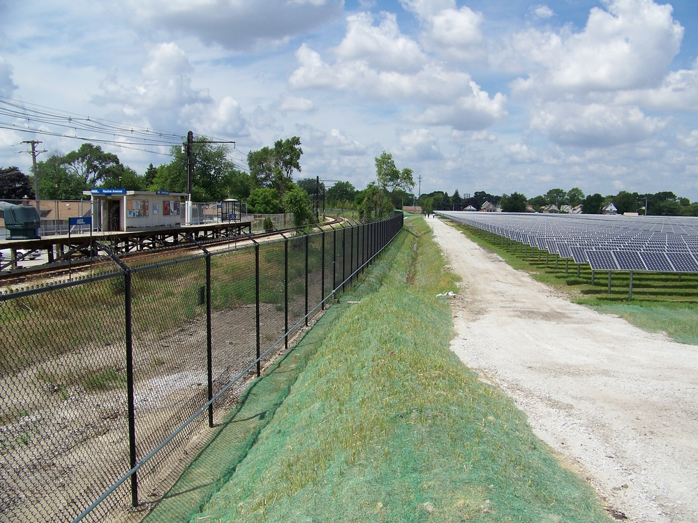 Exelon City Solar - Looking West along southern fence line