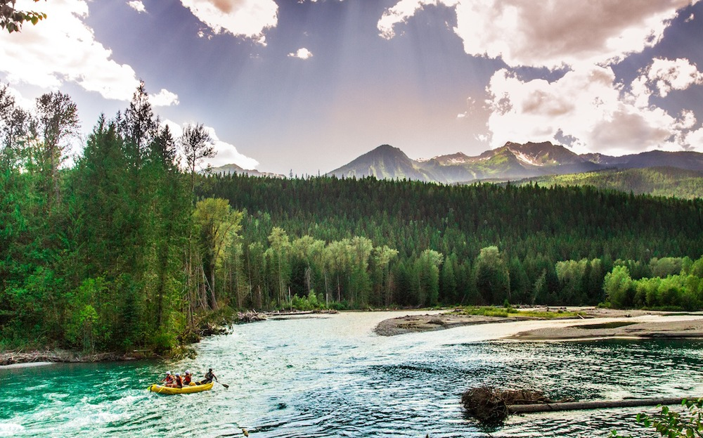 Rafting through the Selkirk Mountains -