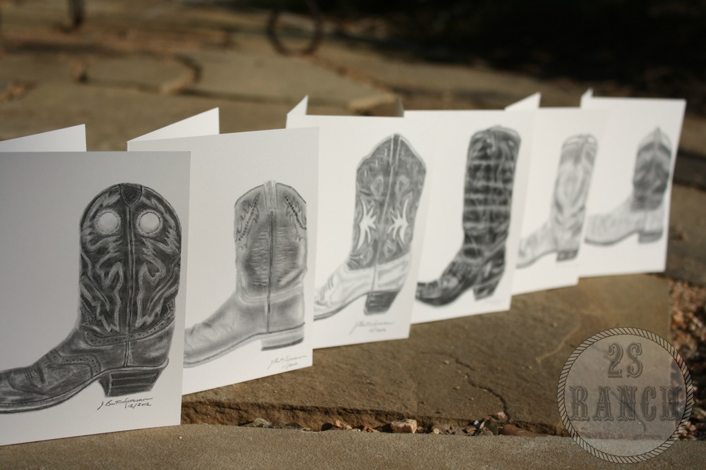 My line of cowboy boot cards.