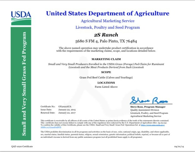 USDA Certification — 2S Ranch