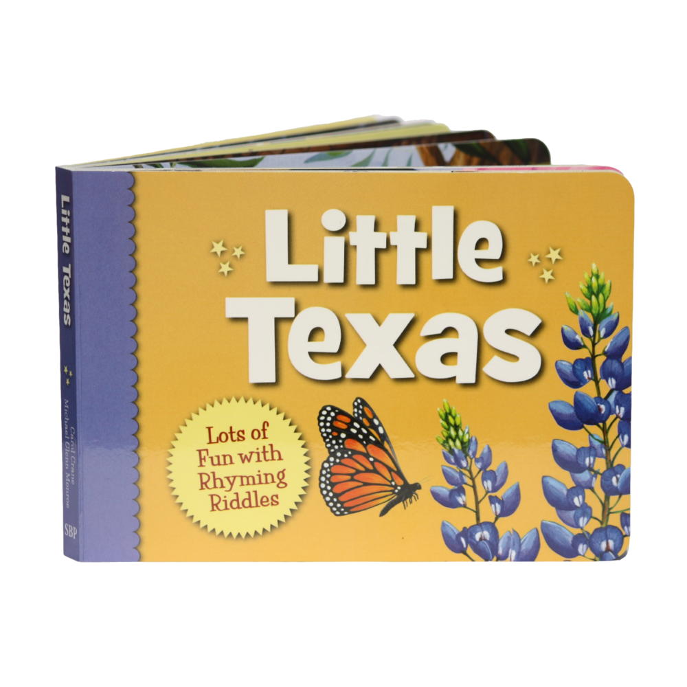 "This board book has rhyming riddles about Texas specific things on each page and on the back has the answer. For example, ""Riding along we see fields of blue, pretty little flowers, welcoming me and you.... bluebonnets."""