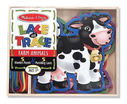With charming farm-animal art on both sides, it's fun to practice lacing and tracing skills with this sturdy wooden set. This set contains five double-sided lacing panels, plus five color-coordinated laces! This helps develop hand-eye coordination and attention skills.  Appropriate for ages 3 and up.