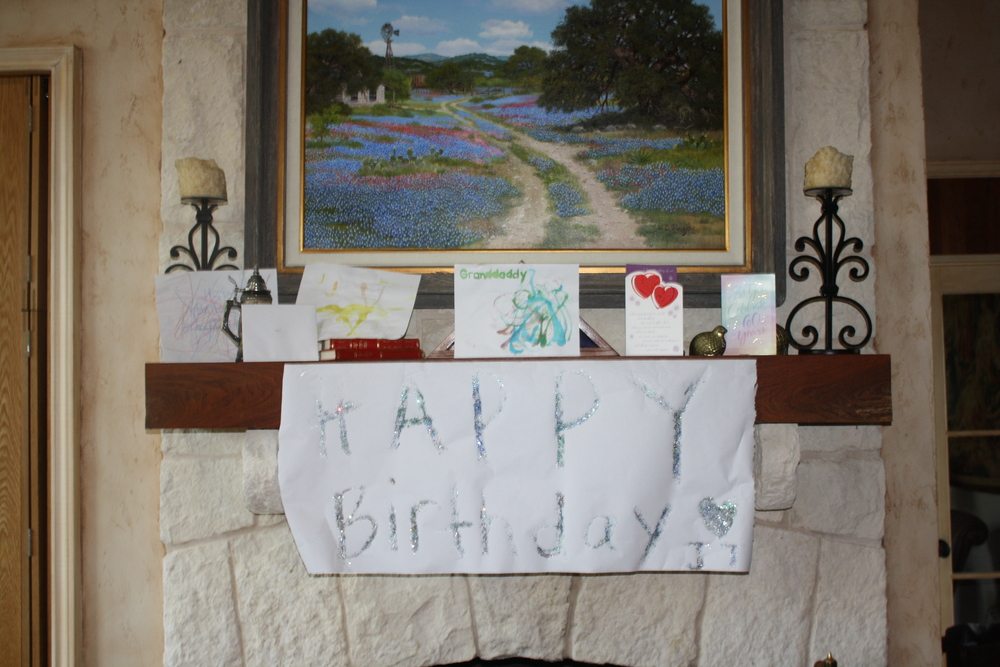 Handmade birthday cards and a big glittery birthday sign all created with love by the little cowboys!