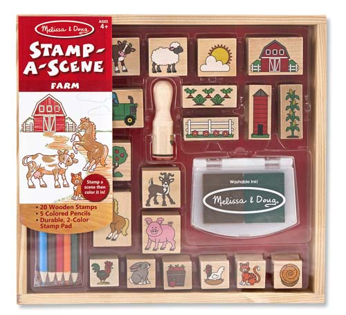 Stamp-A-Scene by Melissa & Doug  A barn, tractor, sheep, bunny, pig and a barn's worth of animals and crops come in this color-in stamp set for kids! This extra-large set of wooden stamps makes it easy to create an exciting storyline or a color-in scene. It includes 20 rubber-faced, wooden-handled outline stamps and a two-color stamp pad filled with brown and green washable ink. Five colored pencils coordinate with the farm theme to add details and color in the barnyard scene. It's a complete arts & crafts activity and storytelling kit in one!