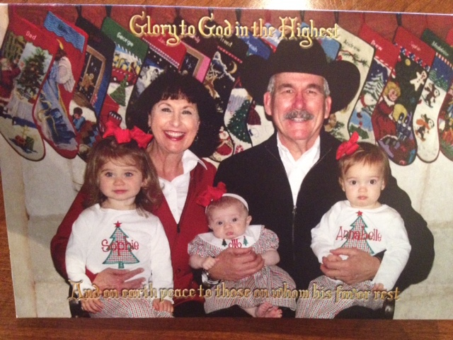 The front cover of our card. The girls tend to cooperate a little more! As a dad of three sons these little girls have rocked my world and I love it!