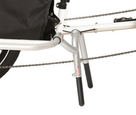 Stable, spring loaded center stand gives you a hand loading & unloading cargo. Chromoly main body and adjustable aluminum legs.