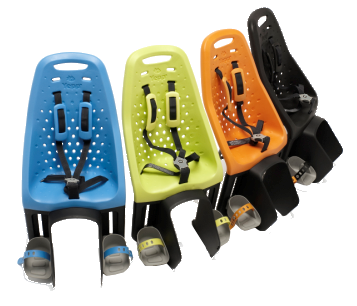 A plug-and-play child seat featuring include EVA seat shell, quick release attachment (with lock & key), 5-point harness, and high-riding position to free up cargo space. For children under 4 years or 48 lbs.