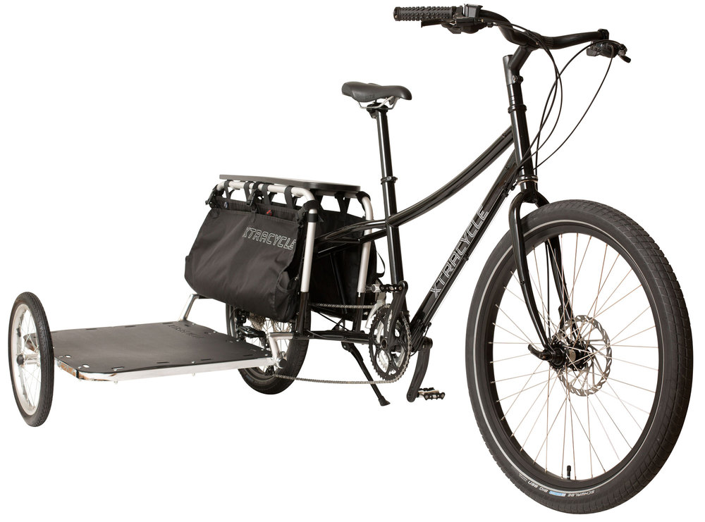 Xtracycle SideCar is designed to install in seconds, providing a huge cargo platform capable of carrying 250 lbs. When not in use, pivot sidecar up and out of the way, reducing rolling resistance and narrowing your ride.