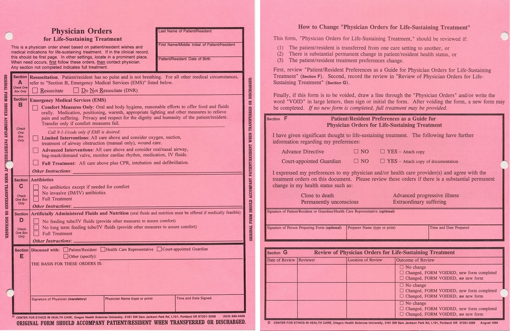 1995 version showing the front and back of the Oregon POLST form (click on form to enlarge).