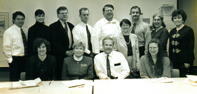 The Oregon POLST Task Force members in 2000, front row (left to right): Susan Tolle, MD (Treasurer, OHSU), Trudy Schidleman, RN (Multnomah County EMS), Patrick Dunn, MD (Chair, Legacy Good Samaritan Hospital and OHSU), Terri Schmidt, MD (OHSU). Back row (left to right): Mark Bonanno, JD (Oregon Health Decisions), Ann Jackson, MBA (Oregon Hospice Association), Dan McFarling (Senior & Disabled Services Division), Tim Hennigan, EMT-P (Oregon Health Division), Jerry Andrews, EMT-P (Oregon Health Division), Chris Nelson, RN (OHSU), Dan Field, JD (Oregon Association of Hospitals and Health Systems), Holly Robinson, JD ( Senior & Disabled Services Division)  and Anne-Marie Jones (OHSU).