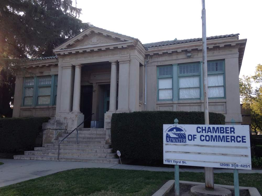 The Atwater Chamber of Commerce occupies the basement of the historic library.