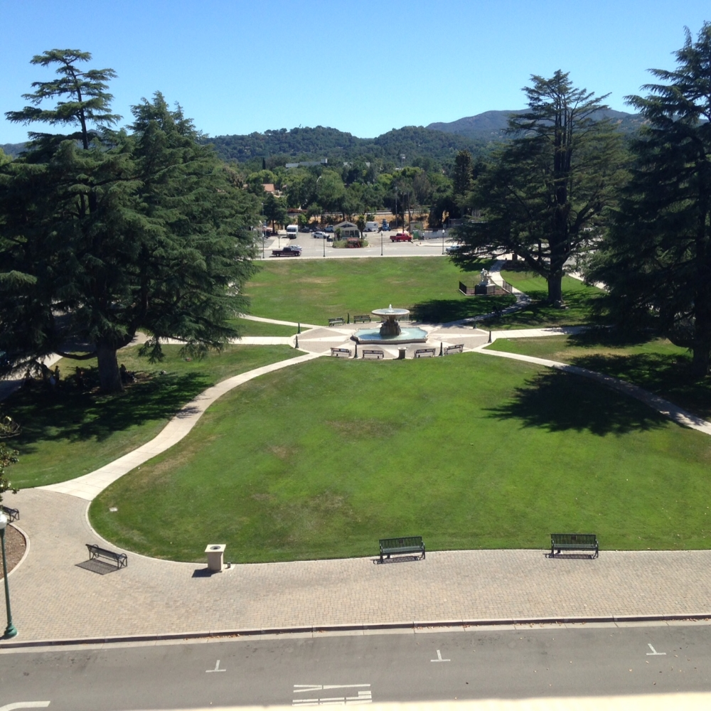 The Sunken Gardens, located in front of city hall, reflects the realization of the City Beautiful movement's principles prioritized in Atascadero's founding.