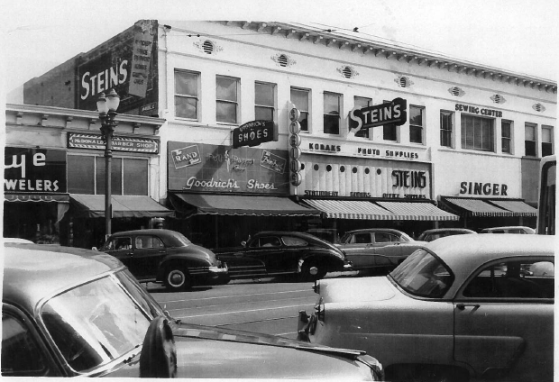 RSG is located in the same space as the former Goodrich's Shoes and Stein's general store. This photo was taken in April 1953 by Kenneth Hugh Hardman, stepson of Ivie Stein.