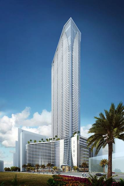 A rendering of Miami's Panorama Tower, the  first project being funded via the Miami EB-5 regional center. Photo credit: Moshe Cosicher/AIA via The Wall Street Journal.