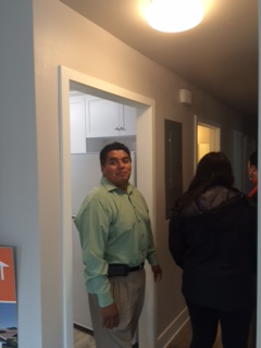 Here's Ruben, taking in the new look of his family's home.