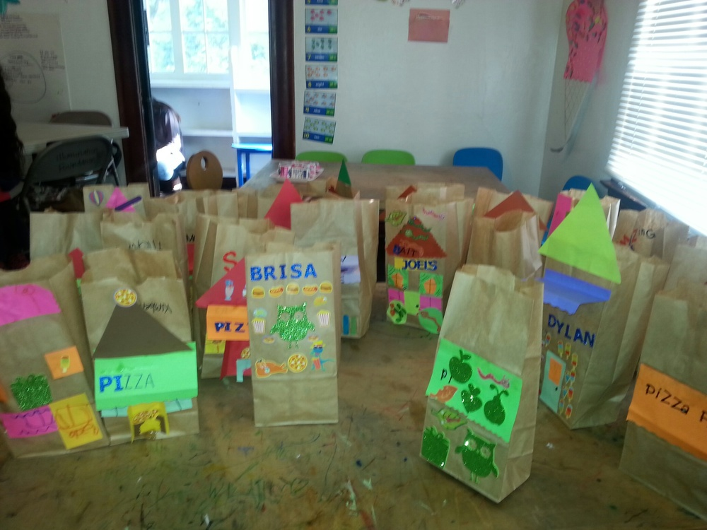 Everyone's participation resulted in an impressive paper bag city!