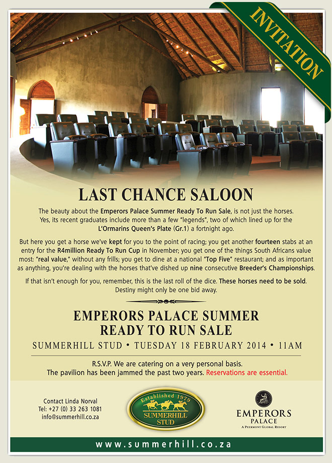 Emperors Palace Summer Ready To Run Sale 2014