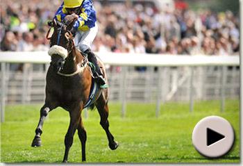 Caspar Netscher winning the Gimcrack Stakes