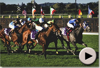 Lester Piggott wins the 1990 Breeders Cup Mile aboard Royal Academy