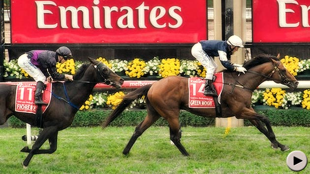 Green Moon wins the Emirates Melbourne Cup