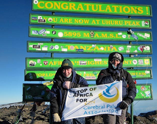 Lin Kayton and Tracey Cook at the summit of Kilimanjaro