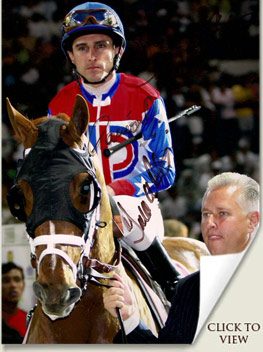 a.p. arrow at the dubai world cup with todd pletcher and ramon dominguez