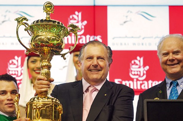 John Messara of Arrowfield, Barry Irwin of Team Valor and jockey Joel Rosario receive the Dubai World Cup
