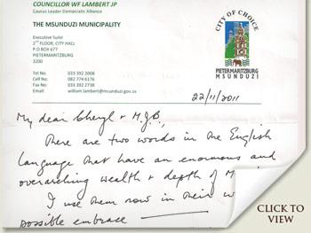 Letter from Bill Lambert