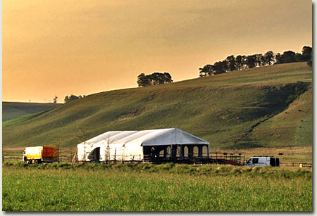 erection of summerhill gallops tent at the grass track