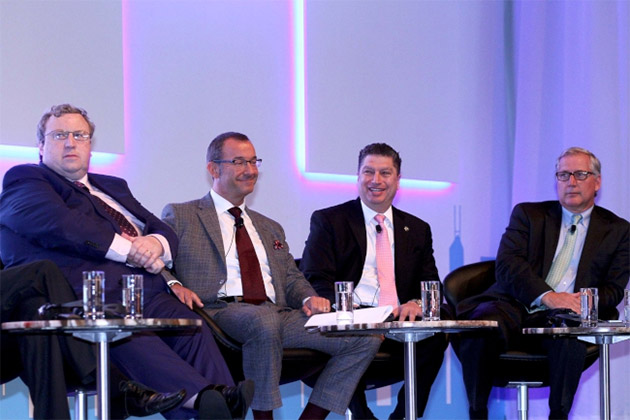 (From left) Brian Kavanagh, Chief Executive of Horse Racing Ireland; Rod Street, Chief Executive of the British Champions Series Limited; William A. Nader, Executive Director, Racing, of the Hong Kong Jockey Club; and Craig Fravel, President and Chief Executive Officer of Breeders' Cup Limited, at the session / ARC (p)