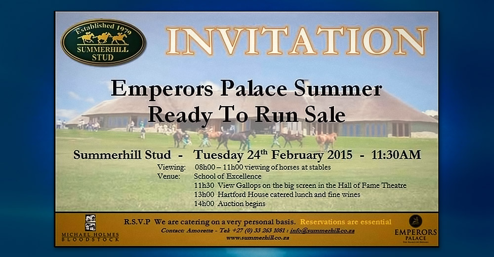 Invitation to the Emperors Palace Summer Ready To Run Sale