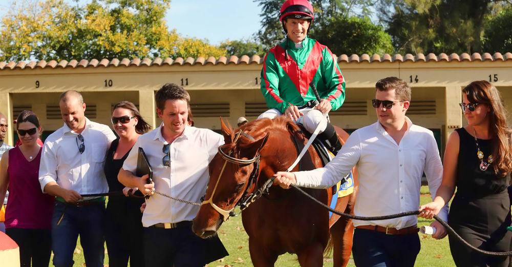 3A Racing team celebrates Strelitzia Stakes victory with Royal Pleasure / Gold Circle (p)