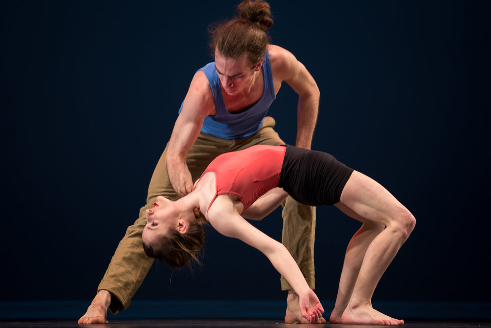"""Katy Hagelin and Andrew Hallenbeck in """"Purple Triangle / Purple Dagger"""" WAIT, REPEAT 2015, The Theatre at Meydenbauer Center in Bellevue, Wa. Photo by Laura Shapovolav"""