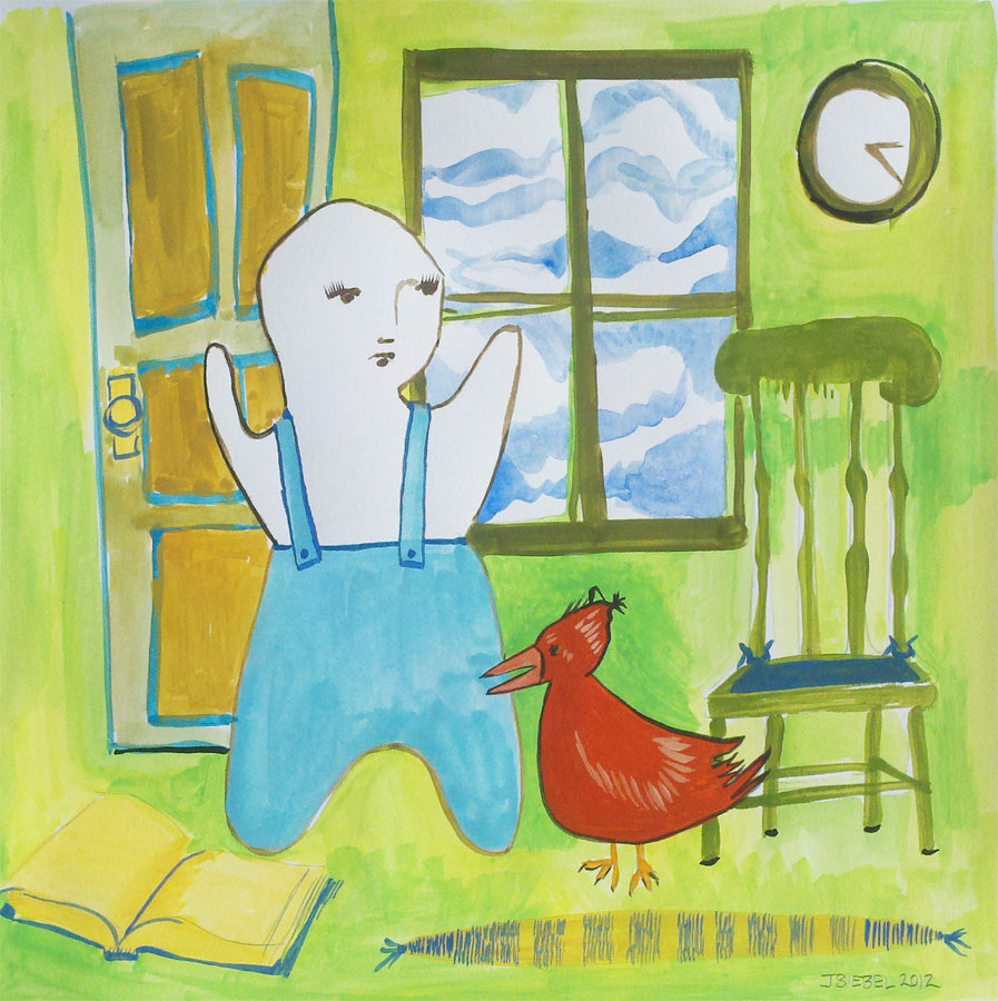 Boy and Rooster in the Nursery