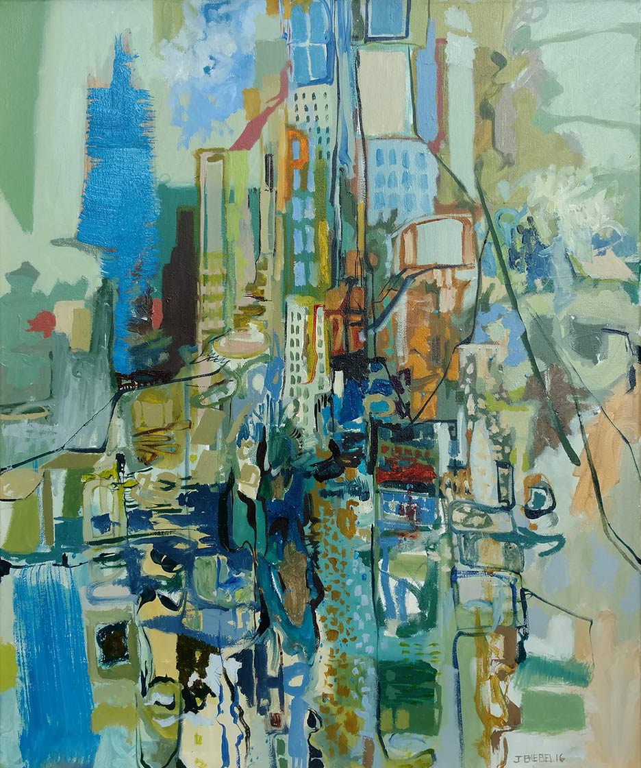 Vertical Cityscape #3 (Blue and Green)