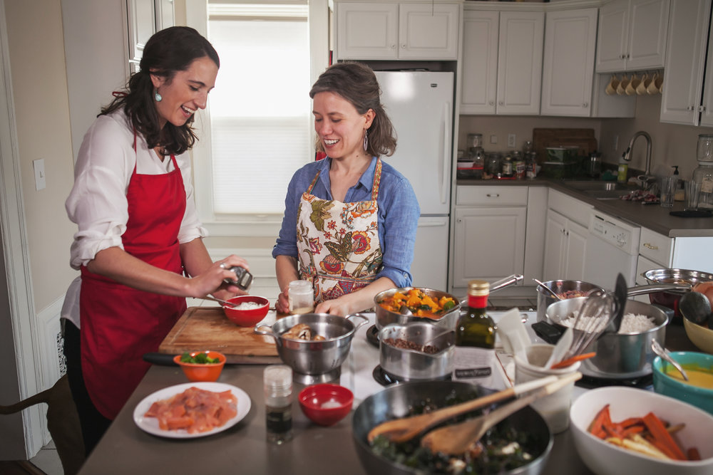 Katrina Cooking with Customer