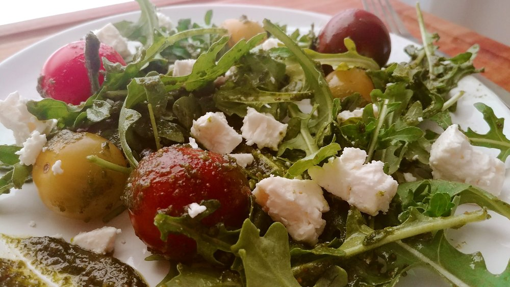 I used it as a salad dressing on arugula with cherry tomatoes and crumbled feta. Simple & delicious!