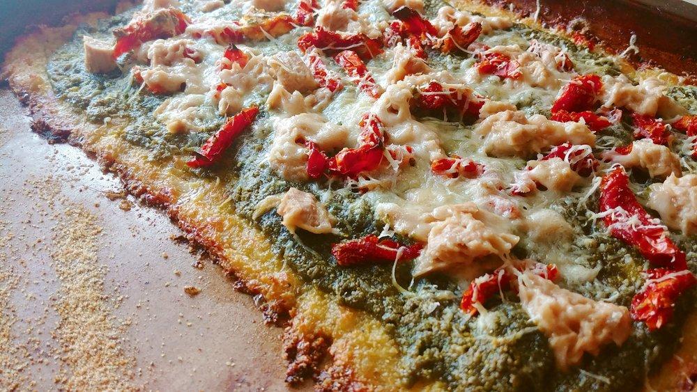 Tuna & Sun Dried Tomato Pizza on a Cauliflower Crust.