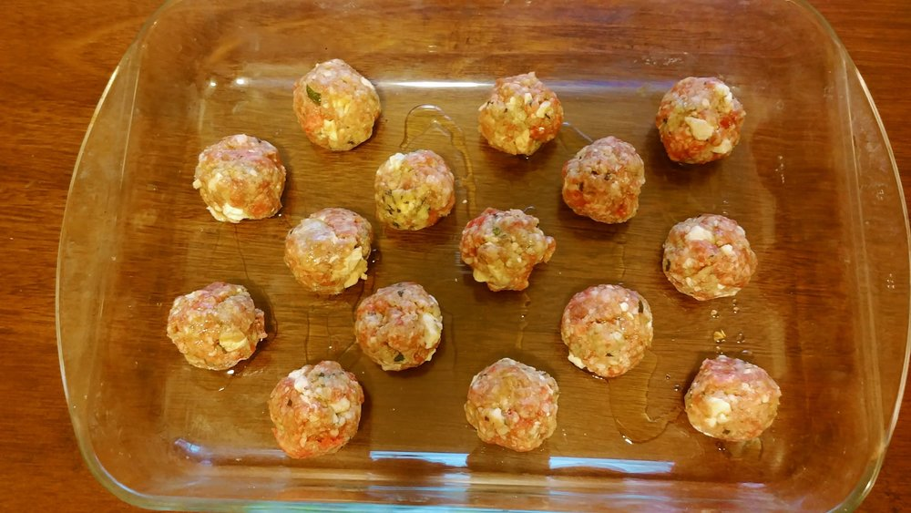 Greek meatballs with lamb and feta cheese